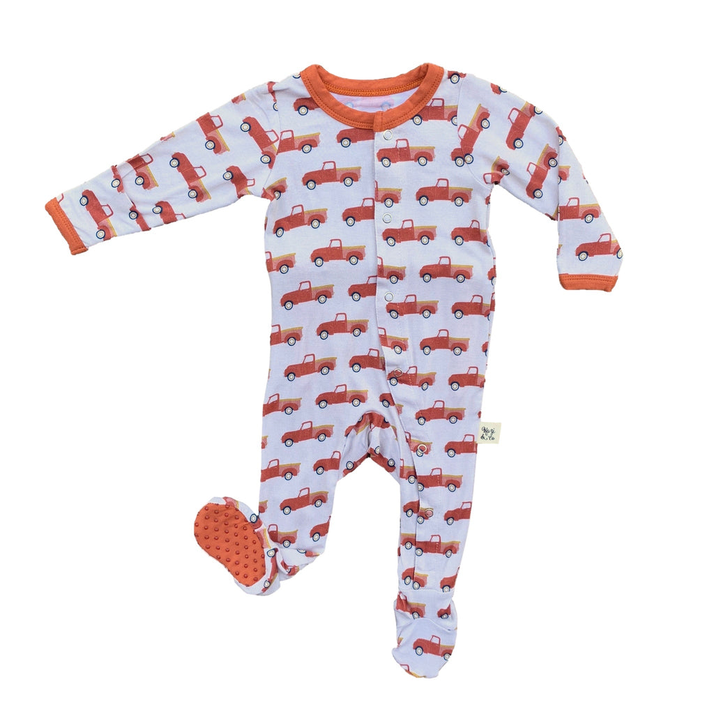 Kozi onesie pajamas with red pickup trucks