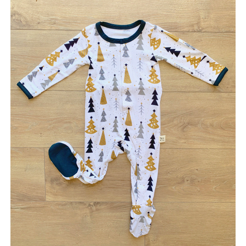 Footie Pajamas - Silver & Gold Trees