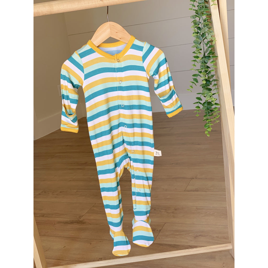 Footie Pajamas - Grasshopper Stripe