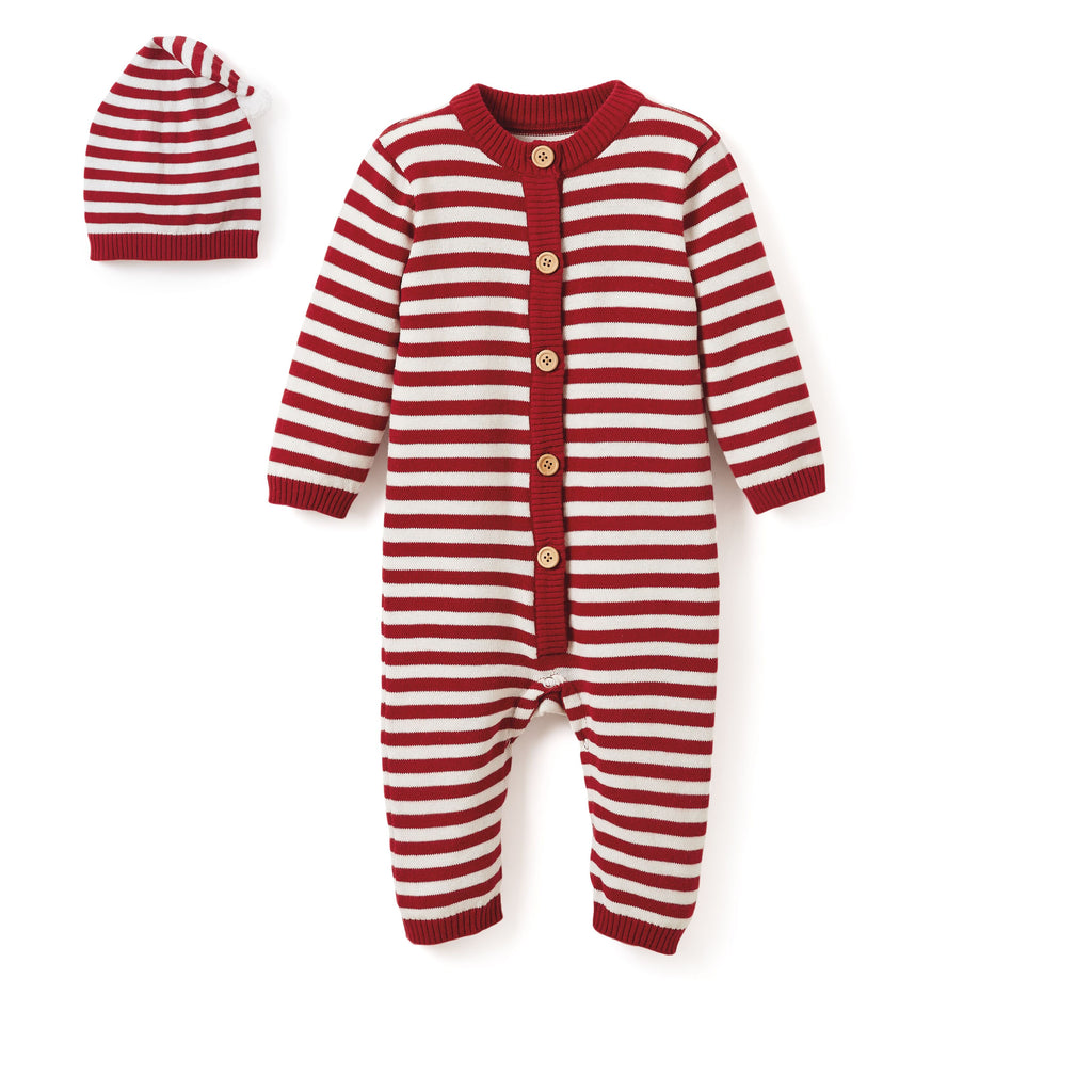 Jumpsuit and Hat Set - Red-Striped