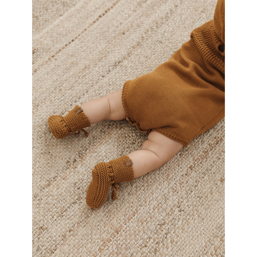 Knit Booties - Clay