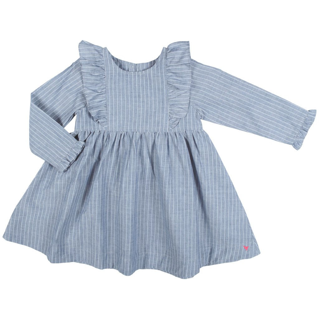 Kylie Dress - Blue/White Pinstripe