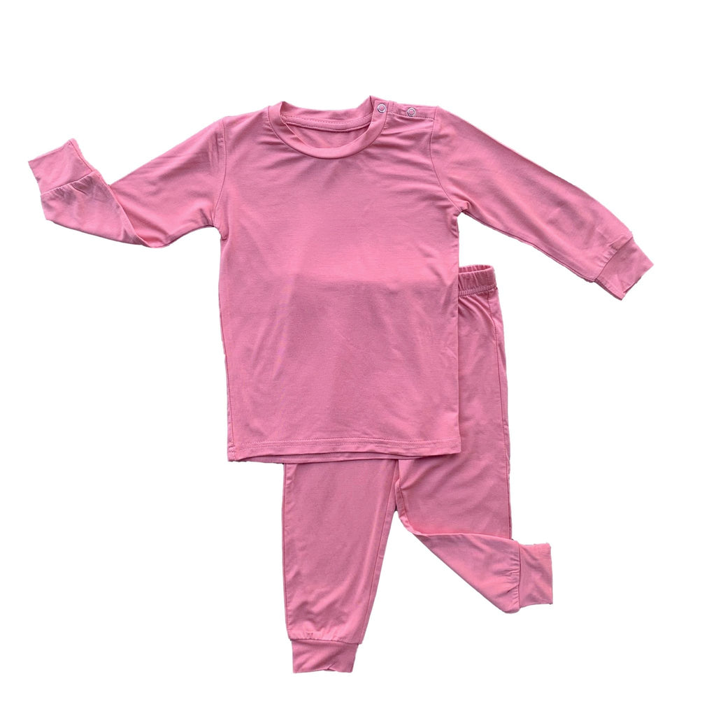 Long Sleeve PJ Set - Cotton Candy Solid
