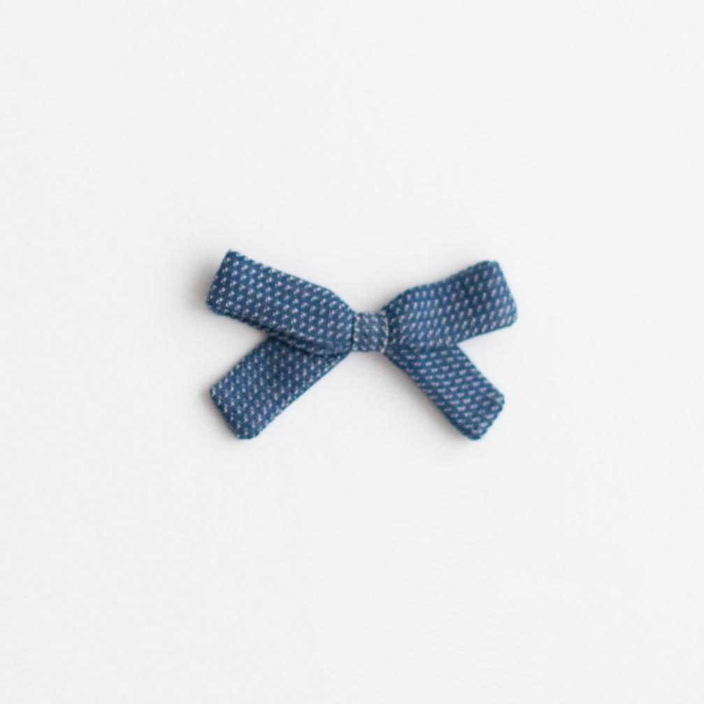 Little Bow Clip - Navy Chex