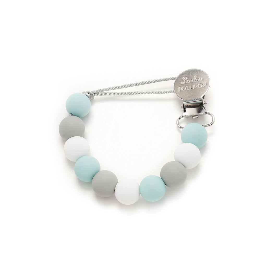 Lolli Silicone Pacifier Clip - Blue Gray