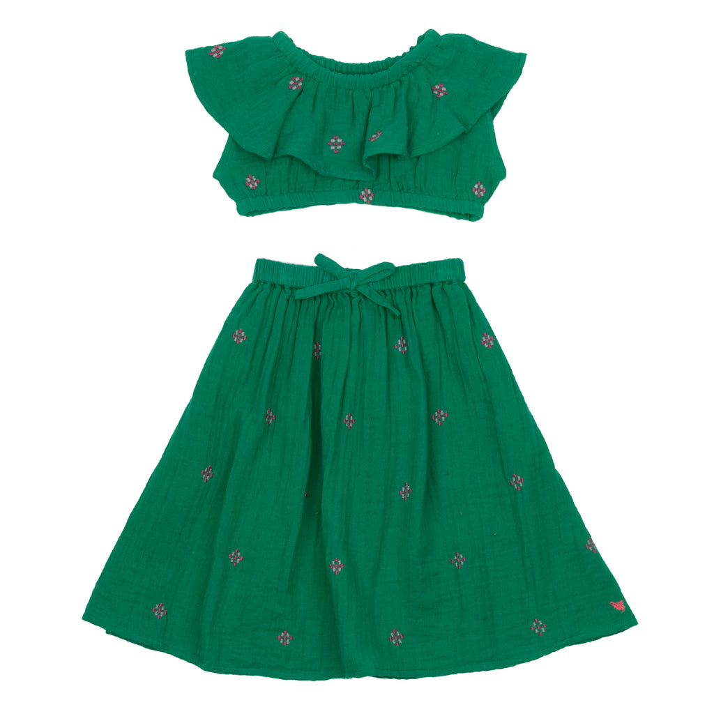 Loretta Skirt - Bosphorous Green w/ Embroidery