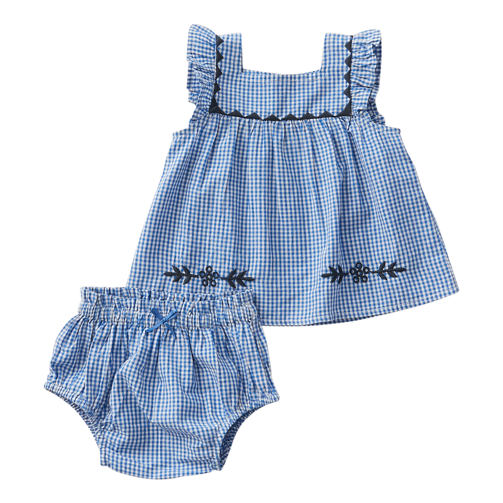 Marabelle 2 Piece Set - Navy Mini Gingham