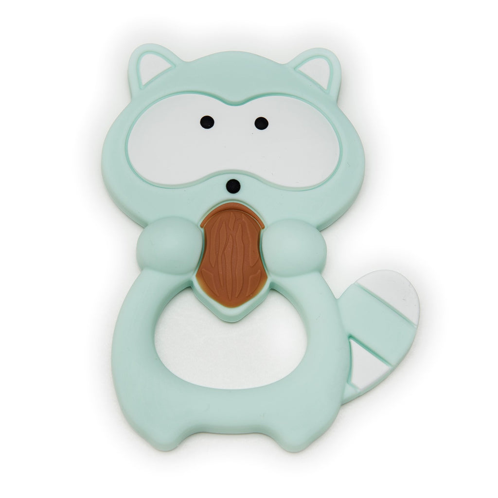 Silicone Teether Holder Set - Mint Raccoon
