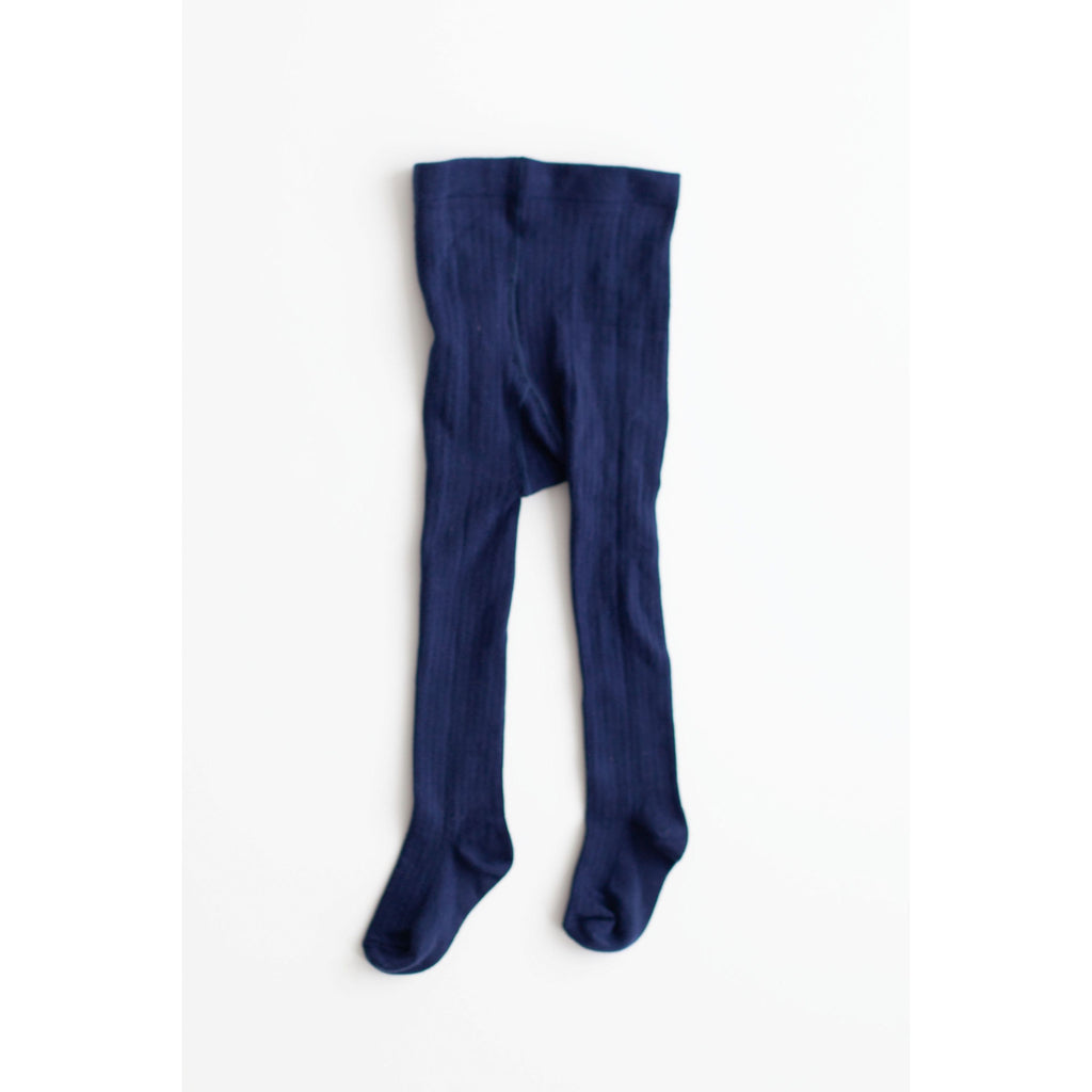 Ribbed Cotton Tights - Navy