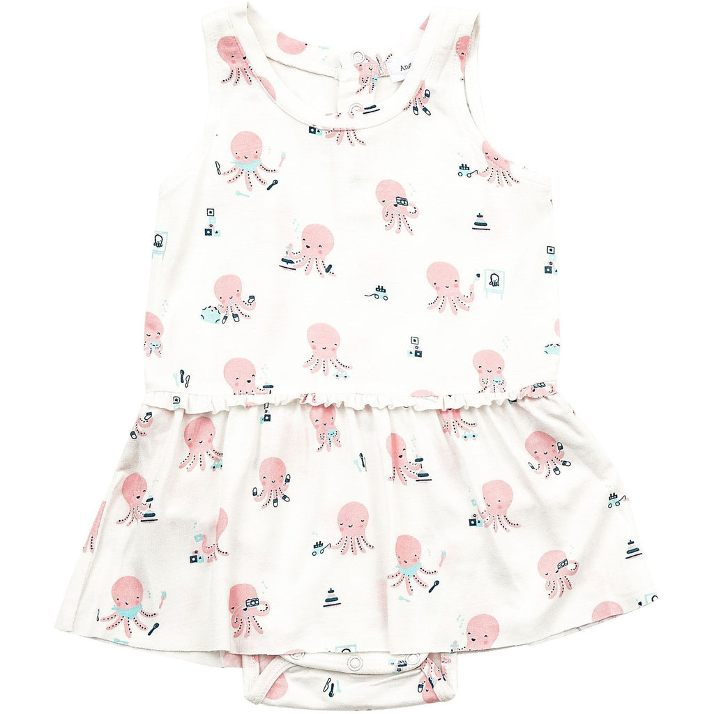 Bodysuit (w/skirt) - Octopus Playtime Pink