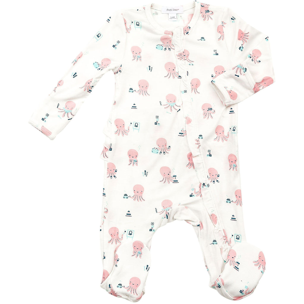 Ruffle Front Zipper Footie Pajamas - Octopus Playtime Pink