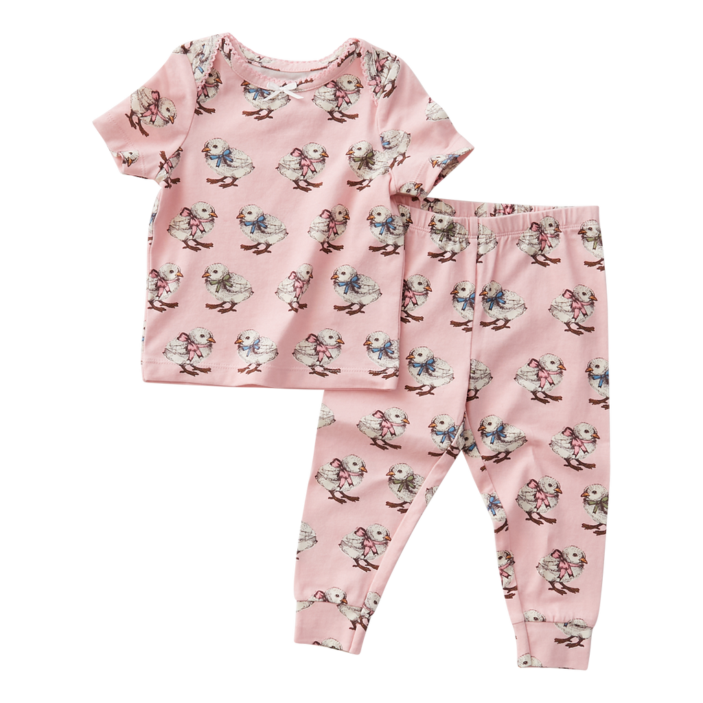 Spring PJ Set - Strawberry Cream Chicks