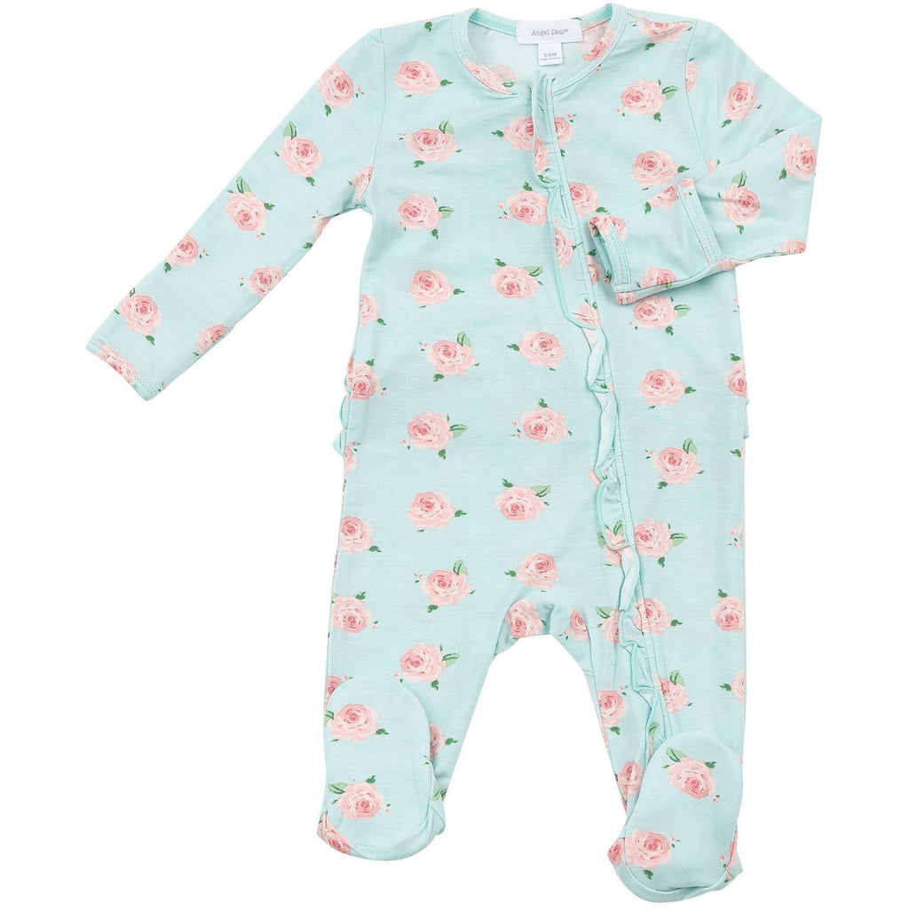 Ruffle Front Zipper Footie Pajamas - Petite Rose