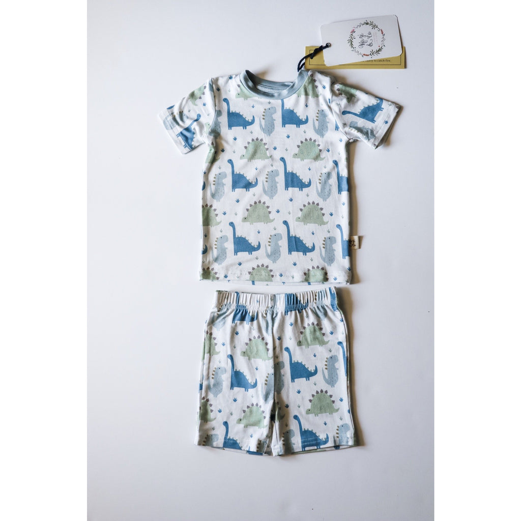Short Sleeve Set - Blue Dinosaurs