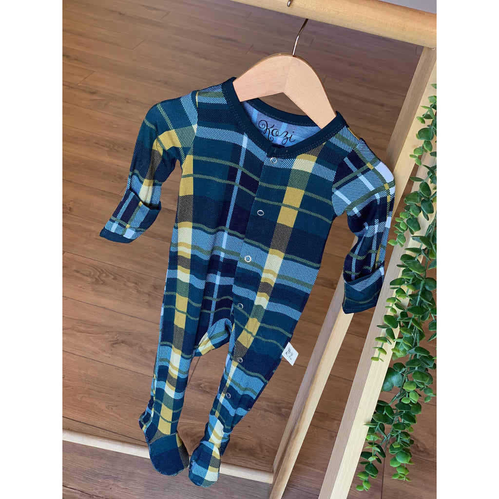 Footie Pajamas - Hunter & Gold Plaid