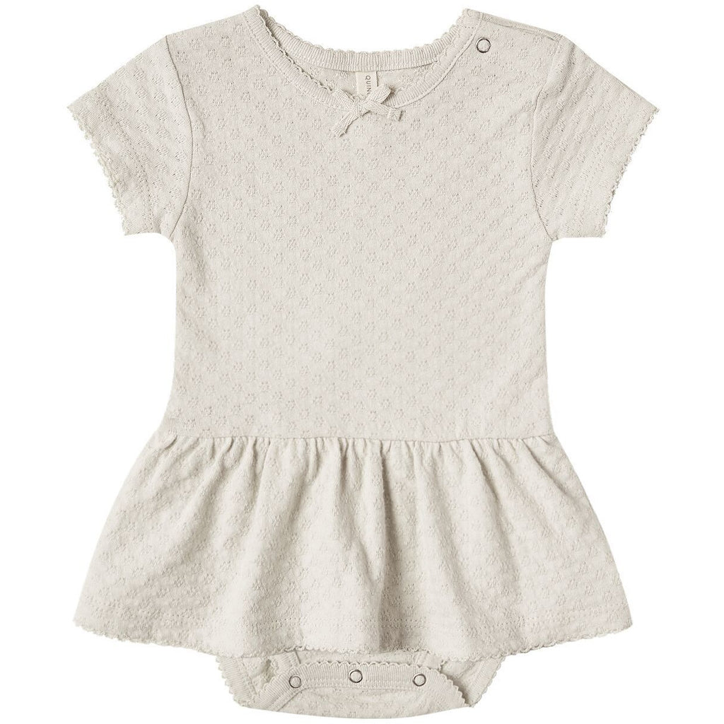 Pointelle Skirted Onesie - Natural