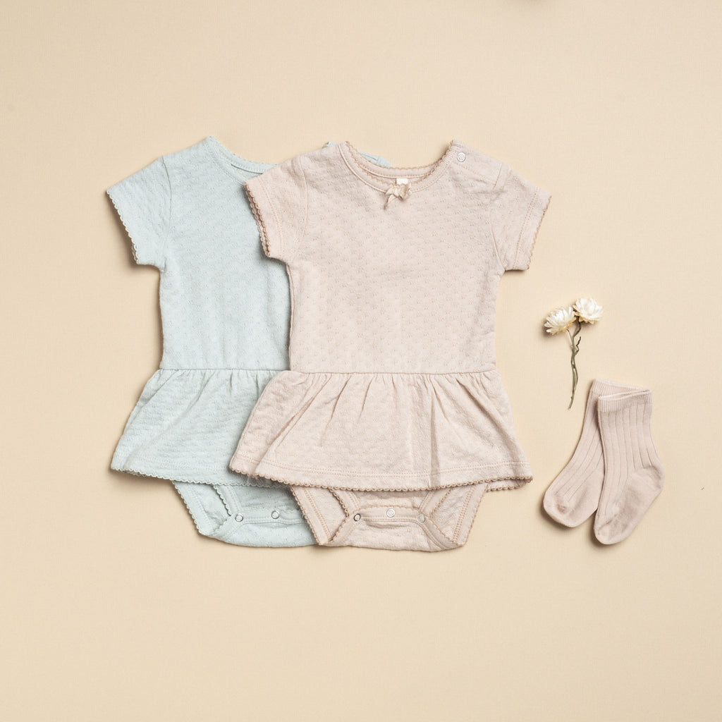 Pointelle Skirted Onesie - Petal