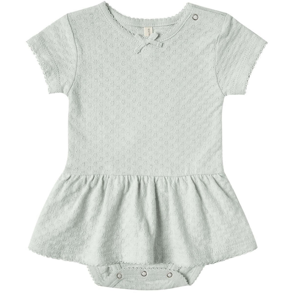 Pointelle Skirted Onesie - Sea Glass