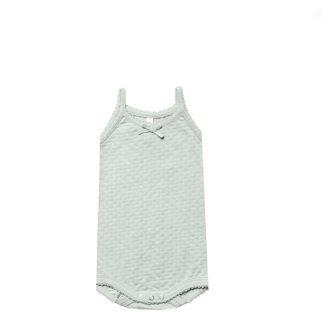Pointelle Tank Onesie - Sea Glass