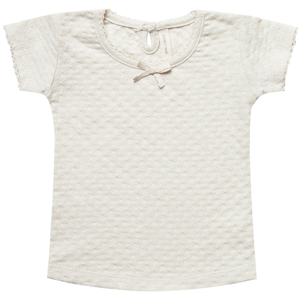 Pointelle Tee - Pebble