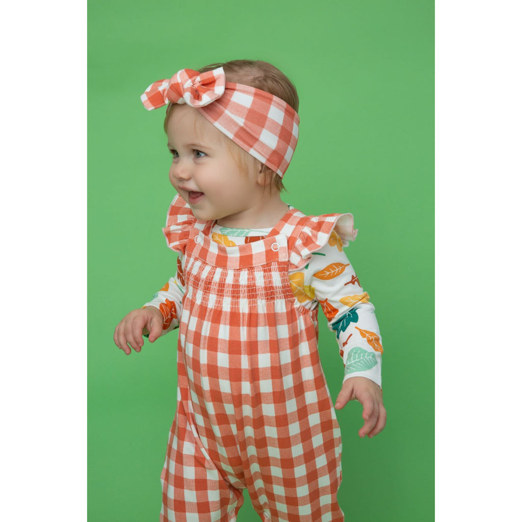 Smocked Front Coverall - Gingham Pumpkin
