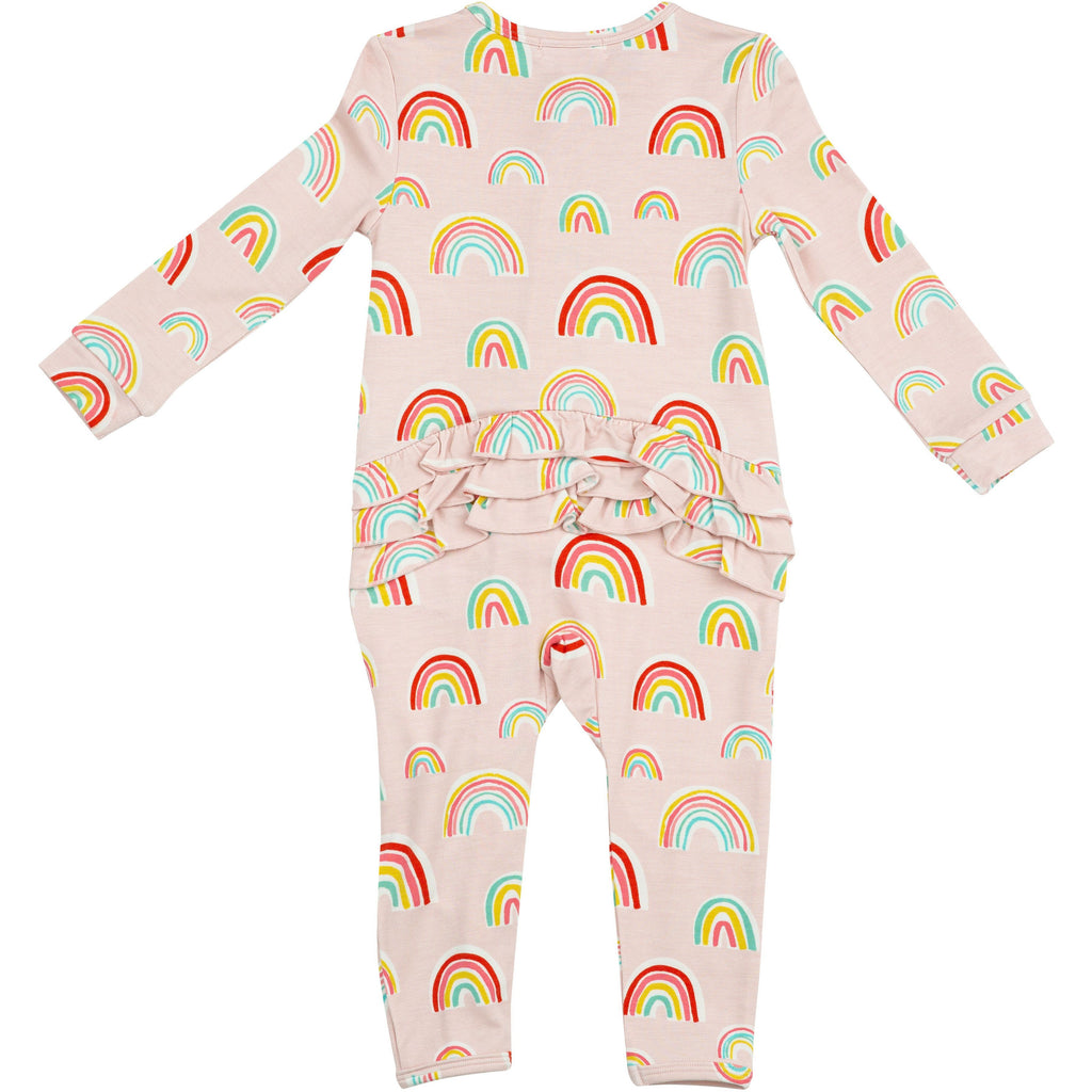 Ruffle Back Zipper Footie - Rainbows