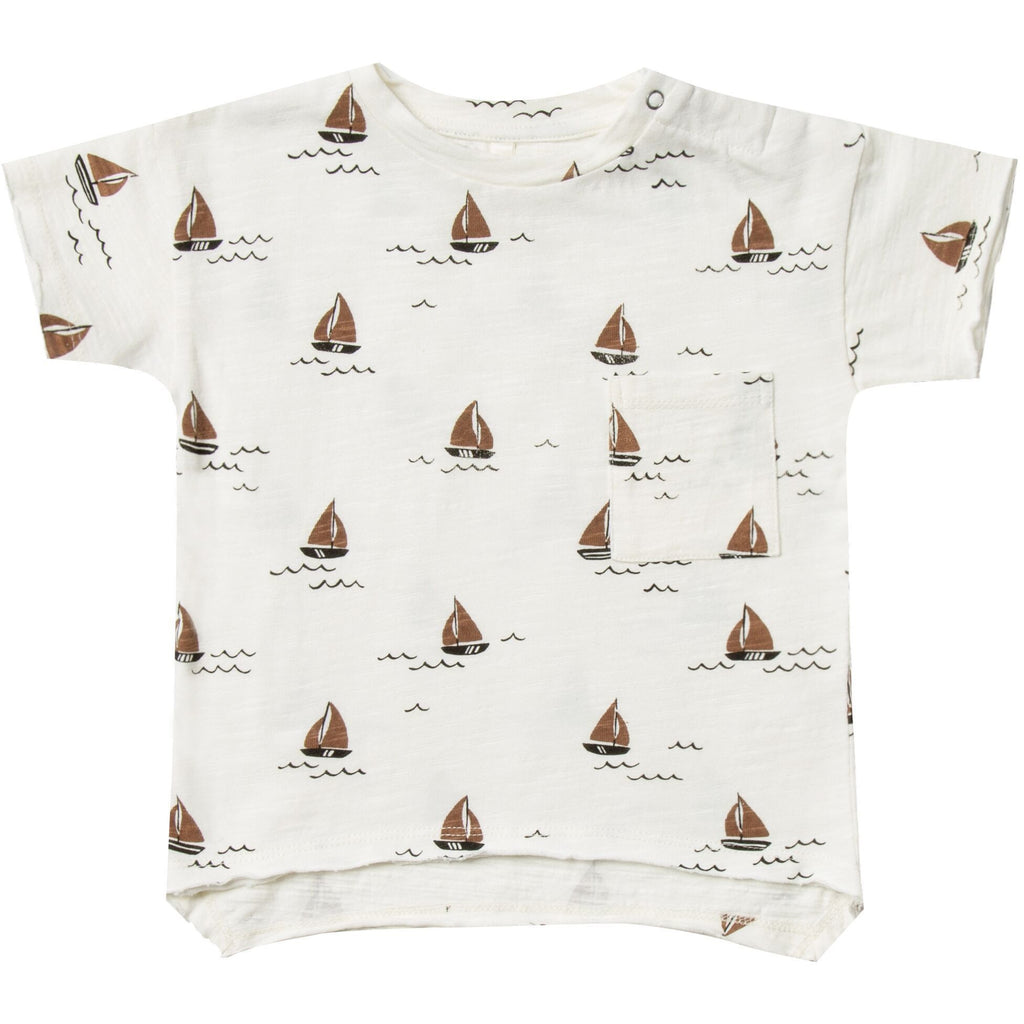 Raw Edge Tee - Sailboat