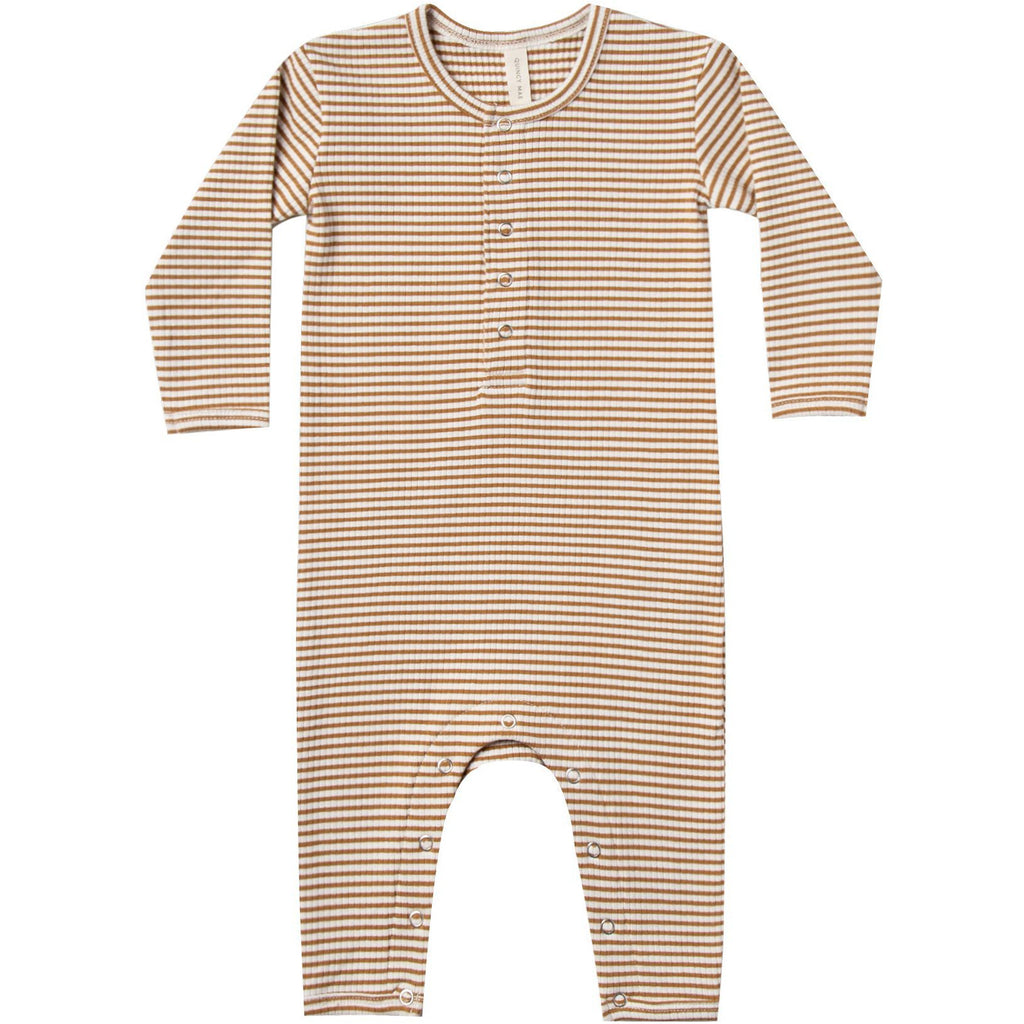 Ribbed Baby Jumpsuit- Walnut Stripe
