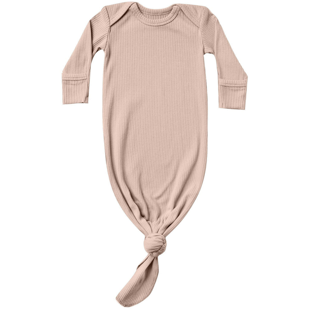 Ribbed Knotted Baby Gown - Petal