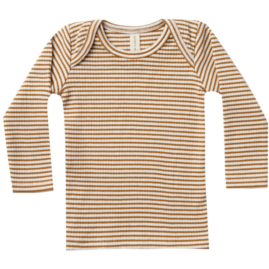 Ribbed Longsleeve Lap Tee - Walnut Stripe