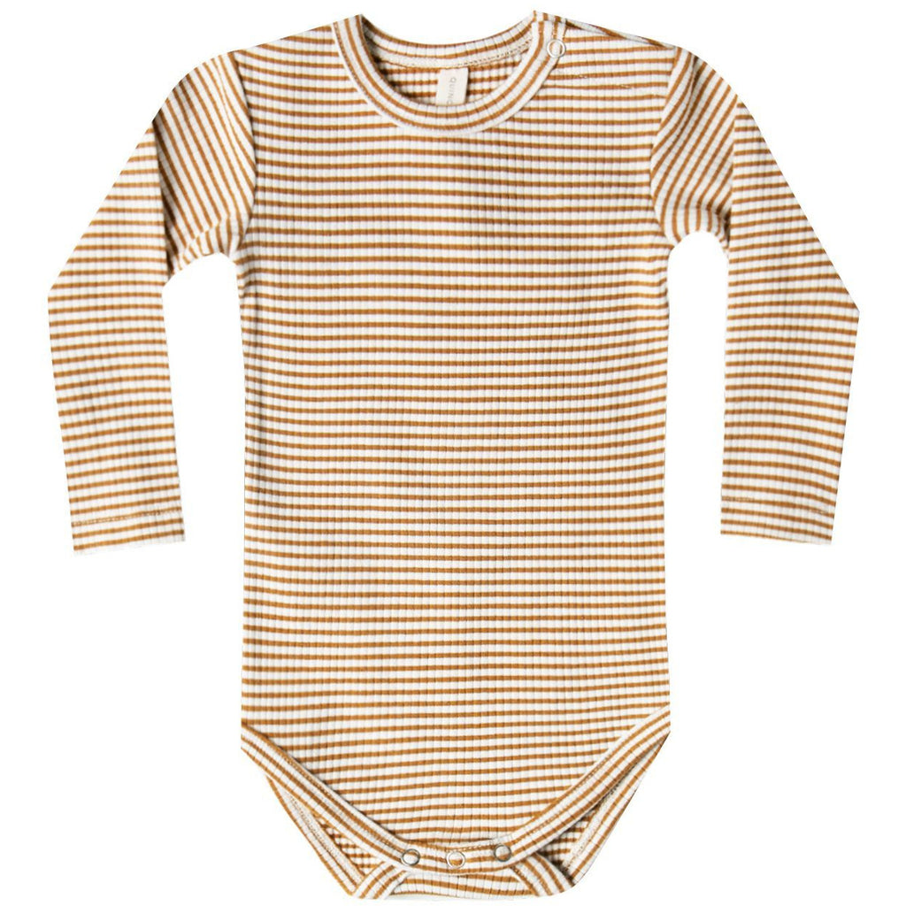 Ribbed Longsleeve Onesie - Walnut Stripe