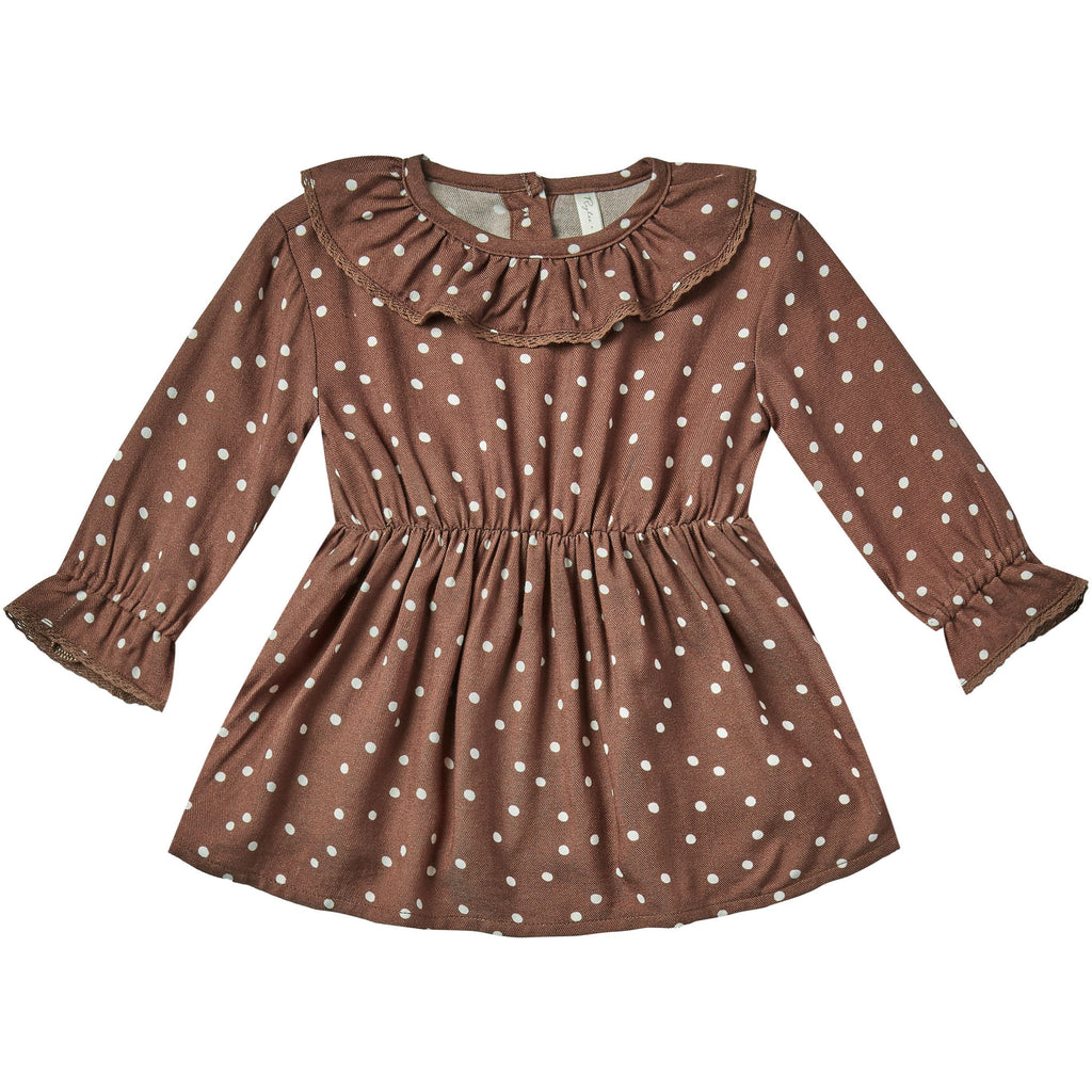 Ruffle Collar Baby Dress - Wine Dot