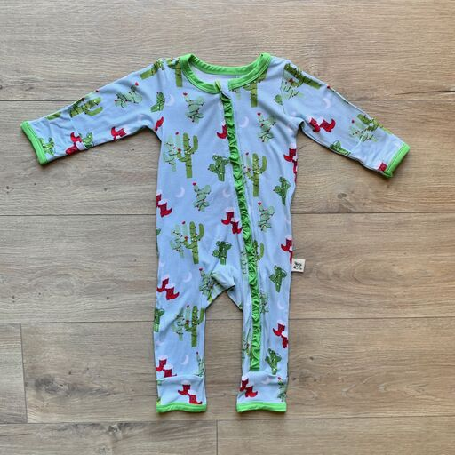 Coveralls - Christmas Cactus w/Ruffle