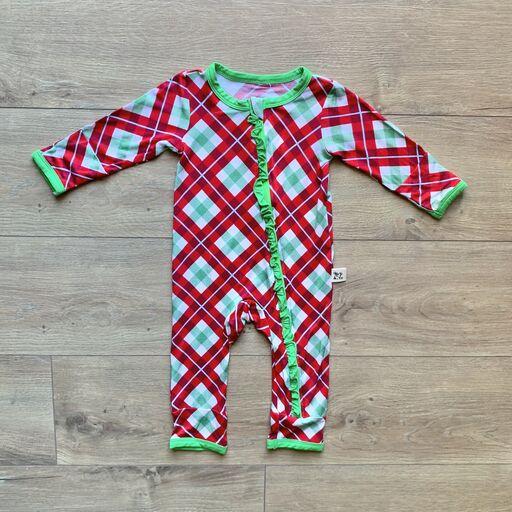 Coveralls - Holly Plaid w/Ruffle