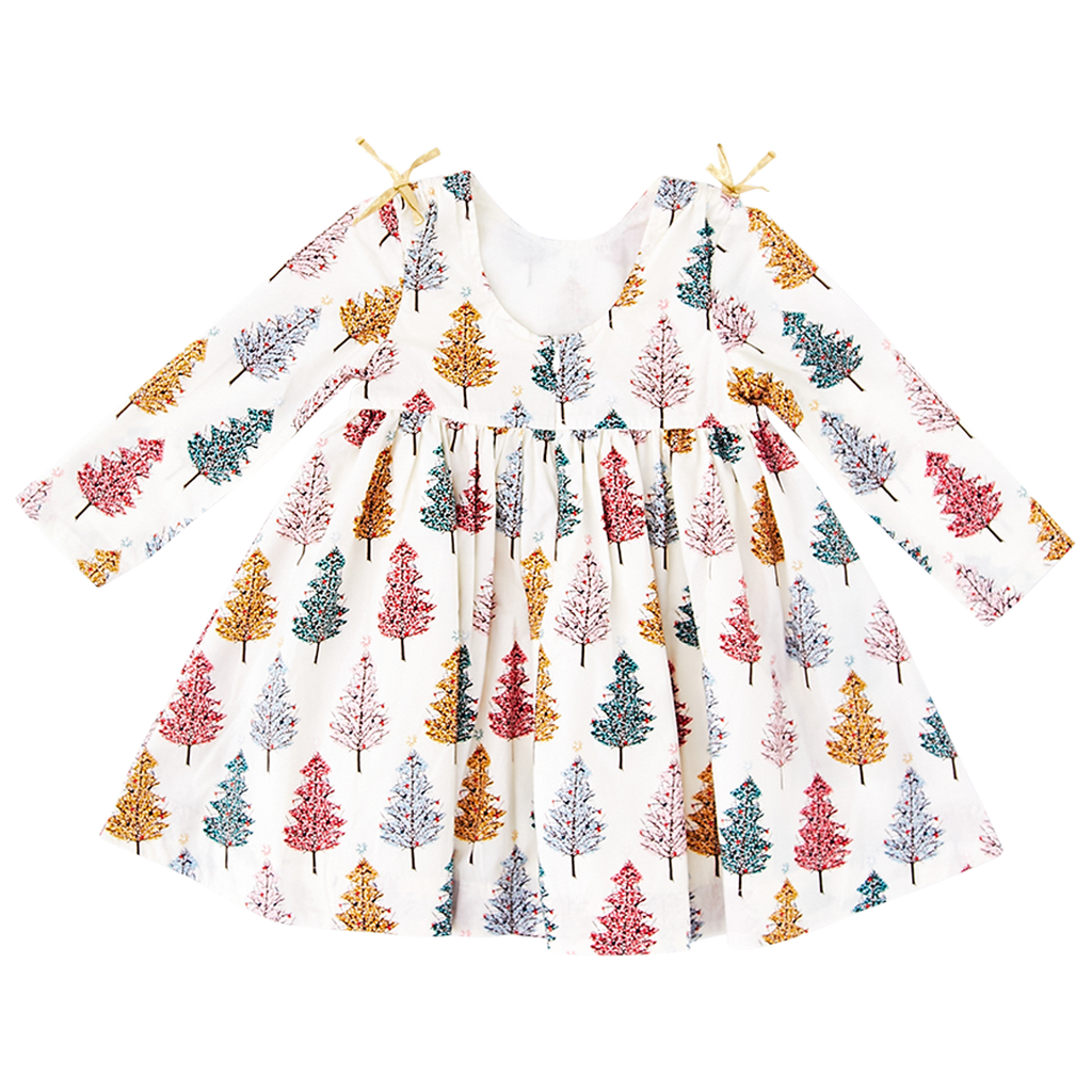 Sheila Dress - Multi Christmas Trees