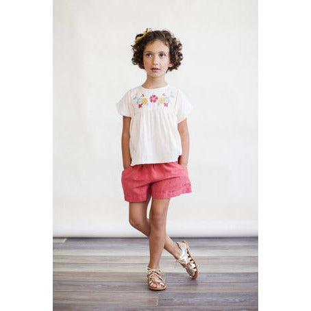 Begonia Button Shorts - Cedar