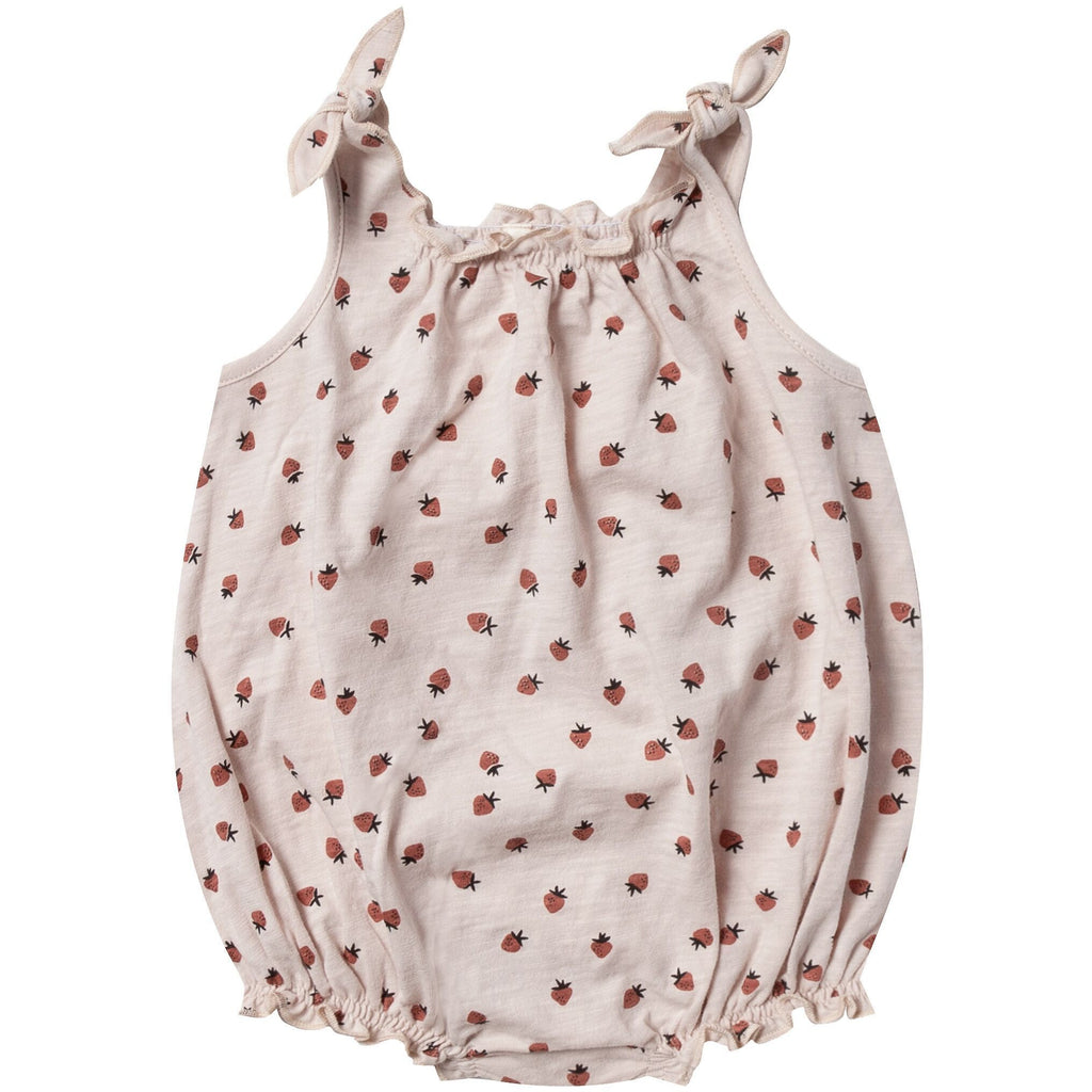 Shoulder Tie Onesie - Strawberry
