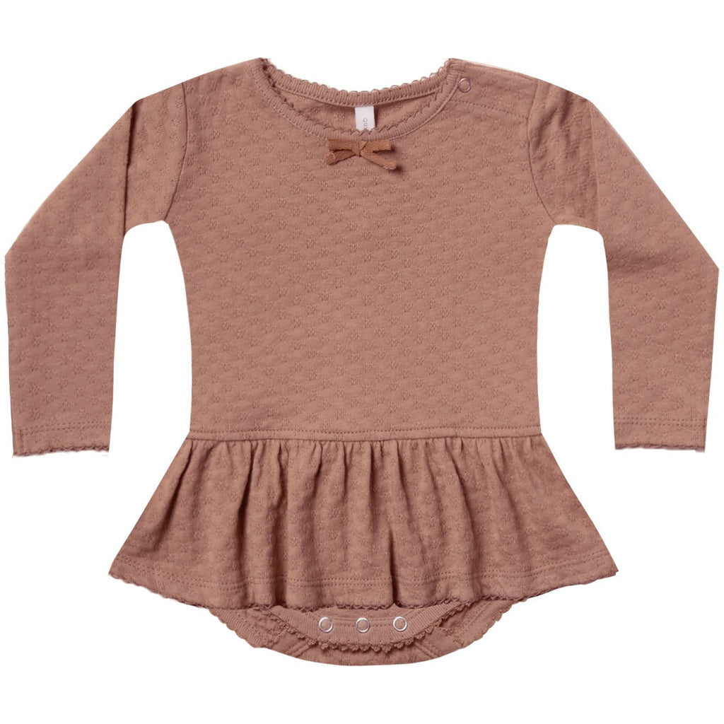 Pointelle Skirted Onesie - Clay