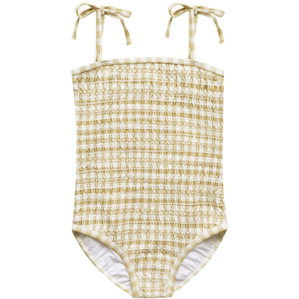 Smocked Onepiece Swimsuit - Butter Gingham