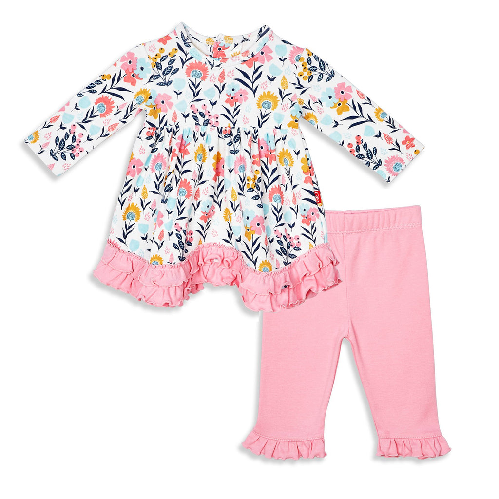 Organic Cotton Magnetic Dress + Pant Set - Sussex Floral