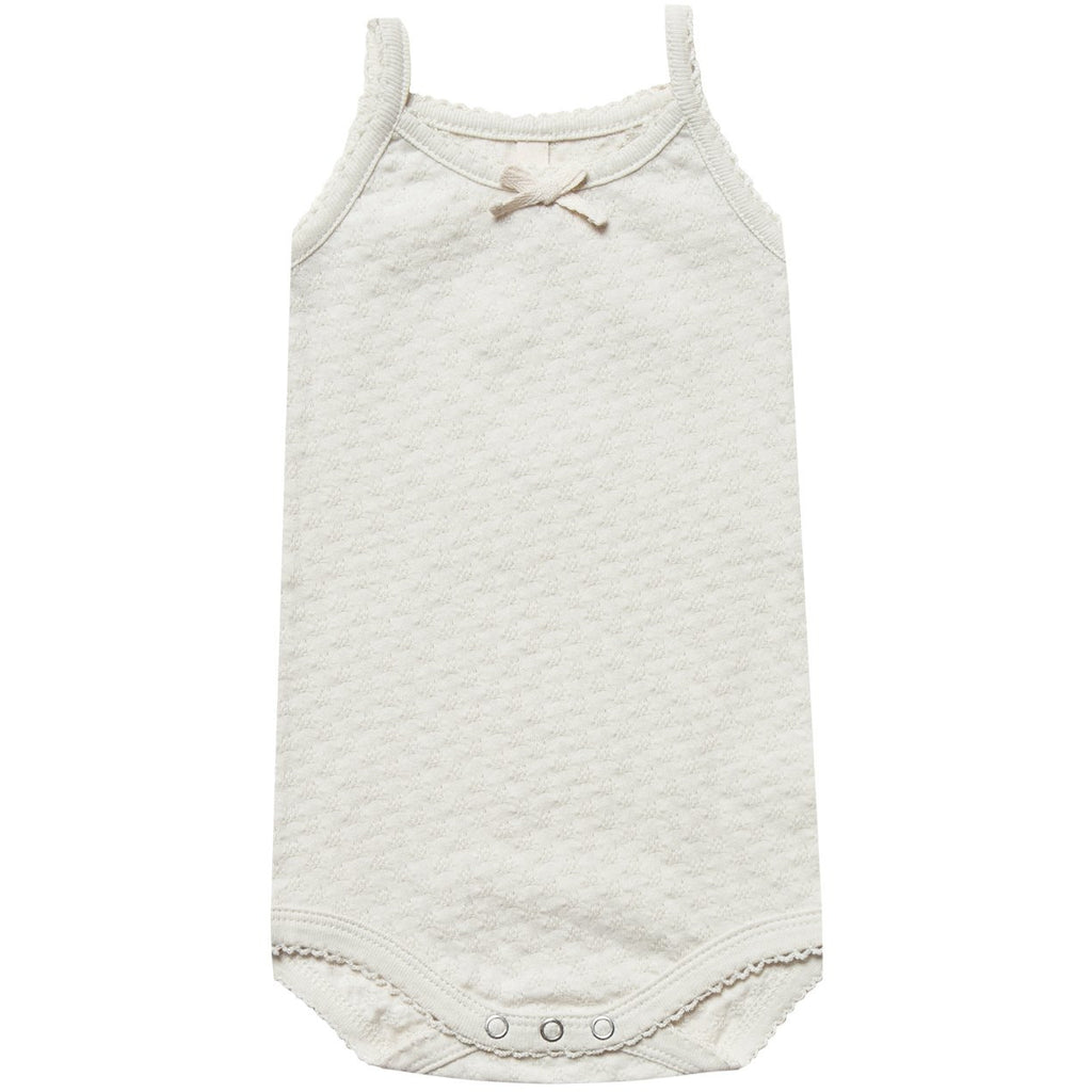Pointelle Tank Onesie - Pebble