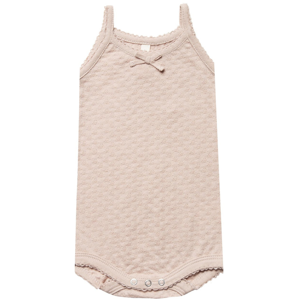 Pointelle Tank Onesie - Rose