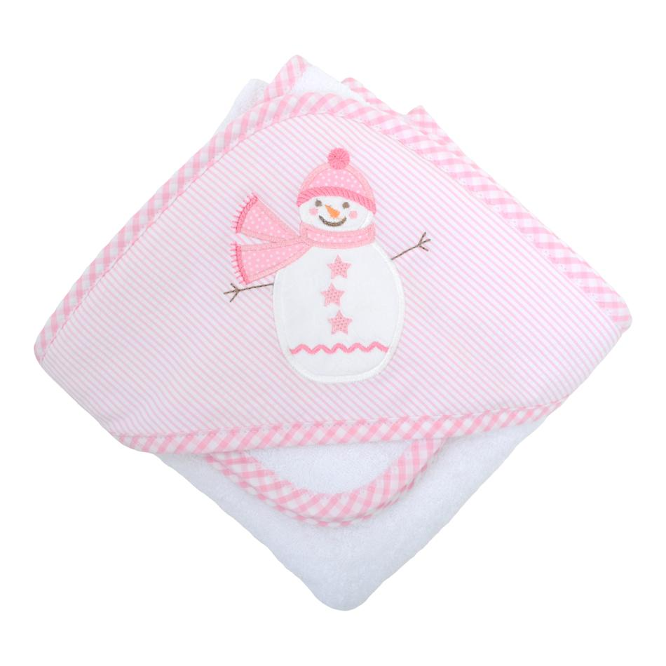Towel/Washcloth Set - Pink Snowman