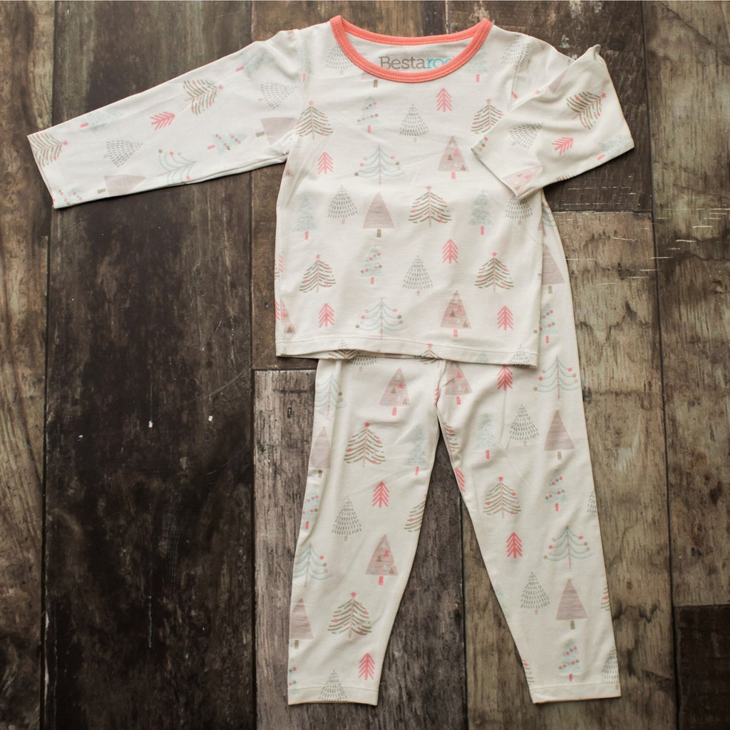 Two Piece Pajamas - Holiday Tree Pink