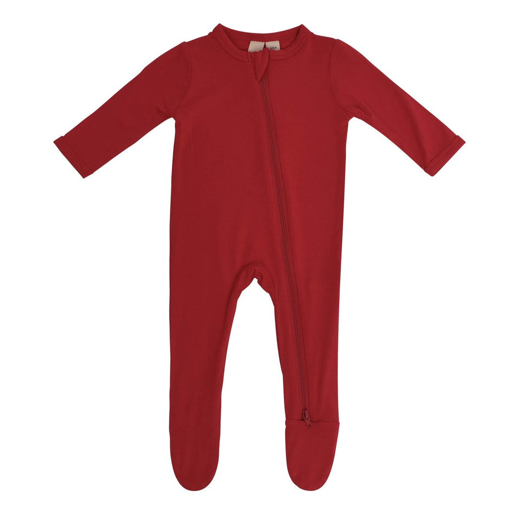 Zippered Footie PJ - Scarlet