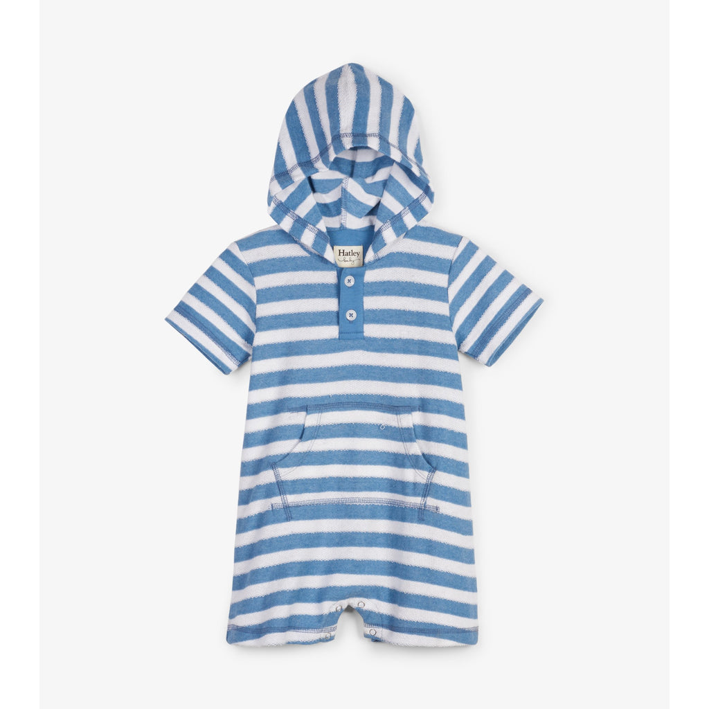Blue Stripes Hooded Baby Terry Romper