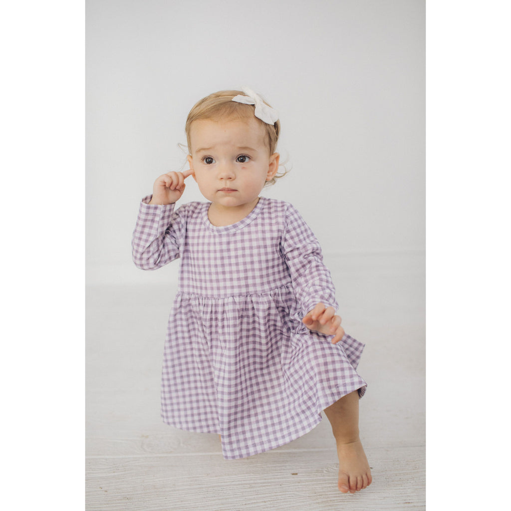 Swoop Dress - Purple Buffalo Check
