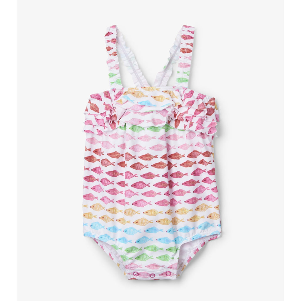 Watercolor Fishies Baby Ruffle Swimsuit