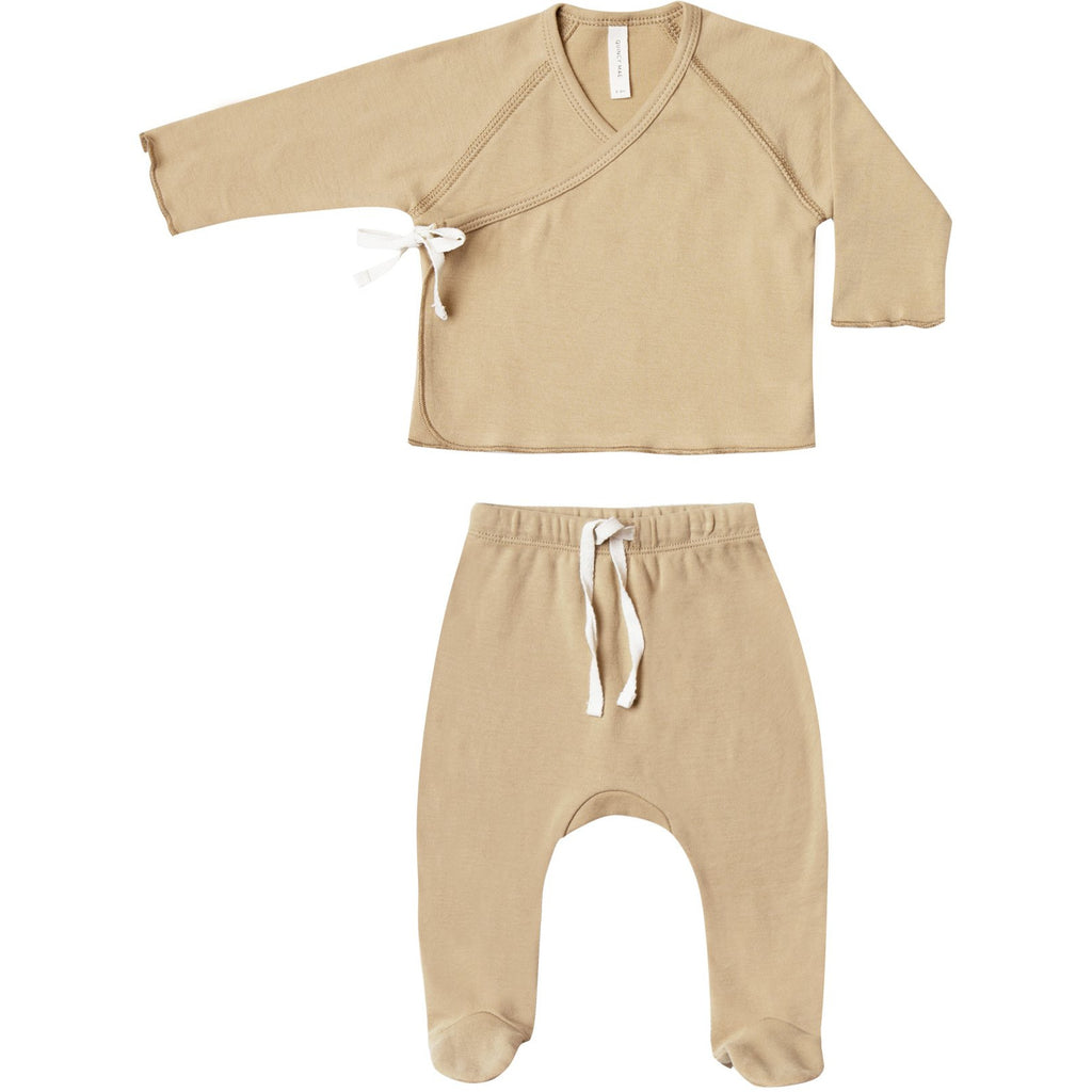 Kimono Top + Footed Pant Set - Honey