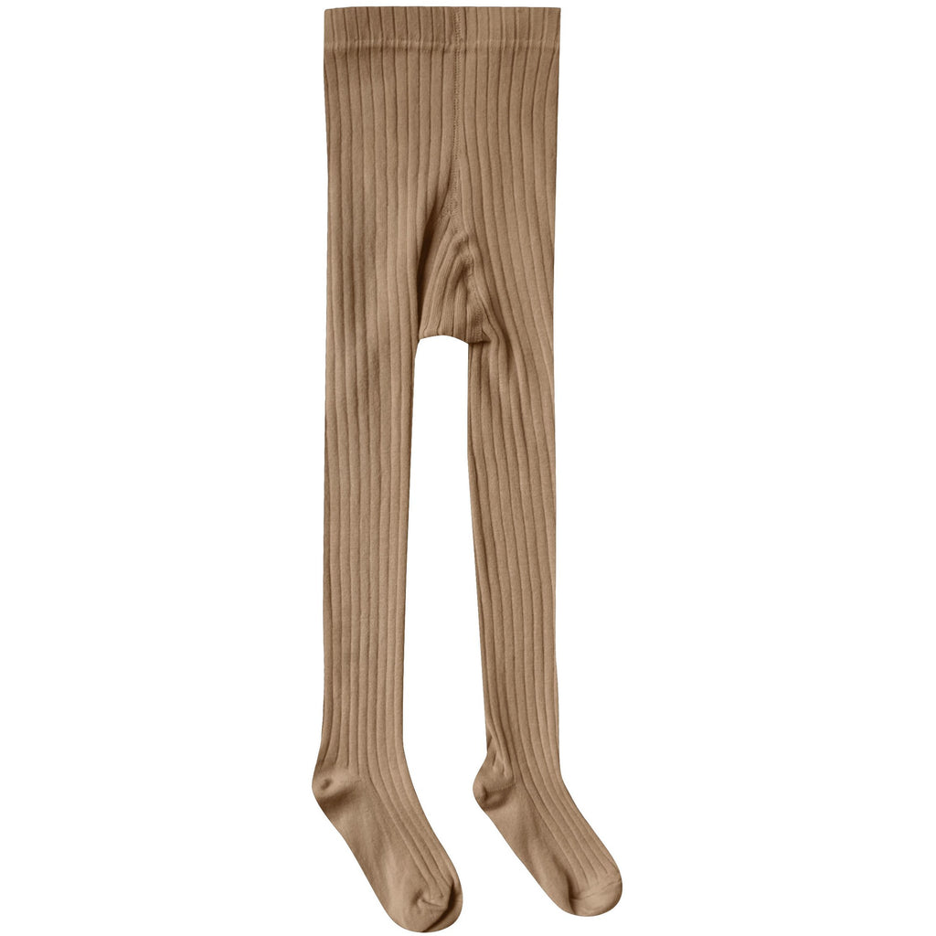 Solid Ribbed Tights - Caramel